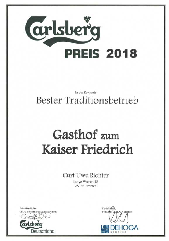 Urkunde Bester Traditionsbetrieb in Bremen